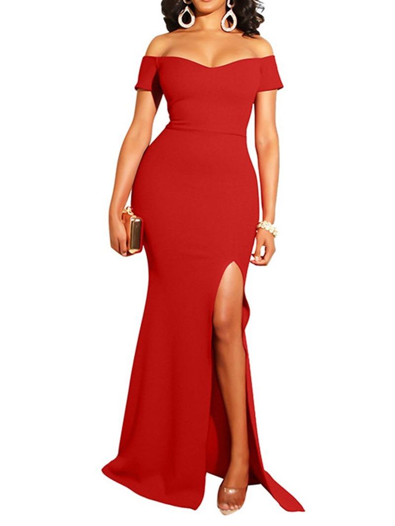 Ericdress Off Shoulder Floor-Length Short Sleeve Cold Shoulder Summer Dress