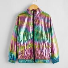 Girls Mock Neck Drop Shoulder Colorful Wind Jacket