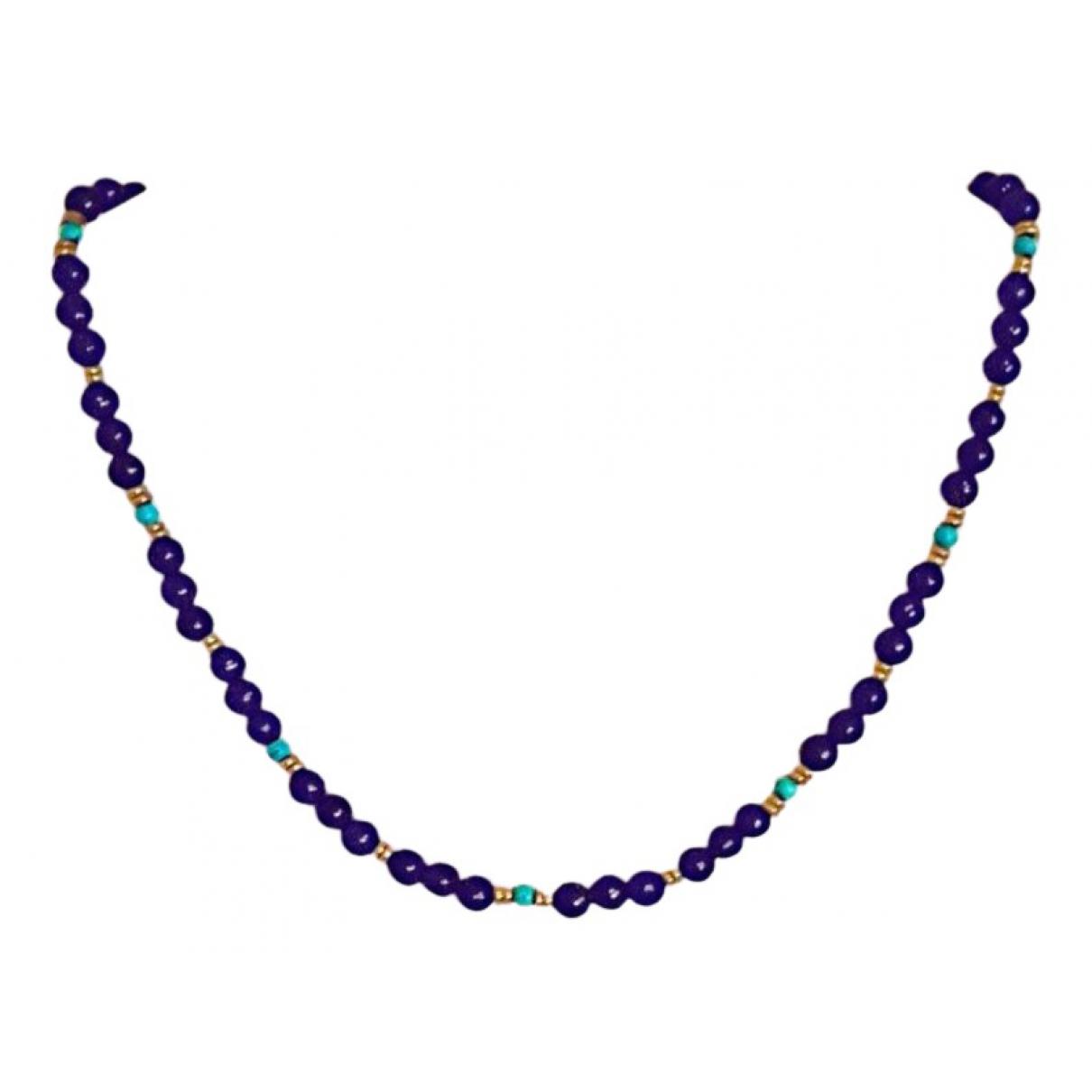 - Collier Lapis lazuli pour femme en plaque or - bleu