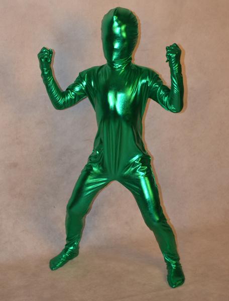 Milanoo Disfraz Halloween Zentai moderno de brillo metalico de color verde  Halloween