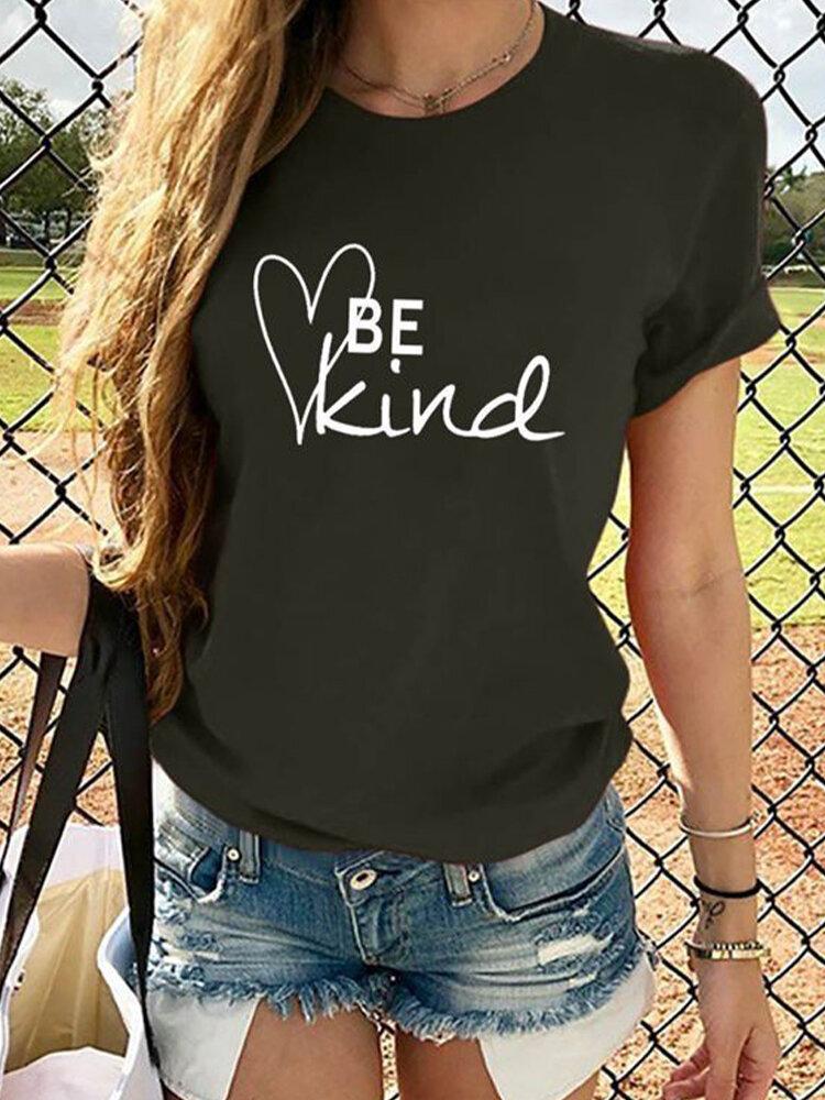 Heart Letter Print Short Sleeve T-shirt For Women