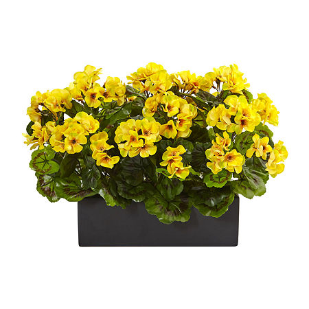 Geranium Silk Plant in Rectangular Planter UV Resistant (Indoor/Outdoor), One Size , Yellow