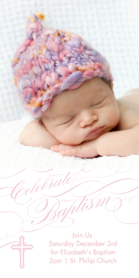 Christening + Baptism Flat Glossy Photo Paper Cards with Envelopes, 4x8, Card & Stationery -Baptismal Blessings - Rose