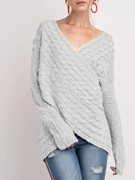 Yoins Grey V-neck Long Sleeves Cable Knit Wrap Jumper