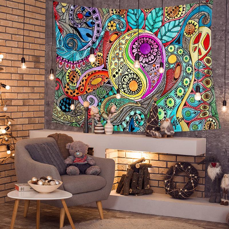 Colorful Abstract Sun God Taiji Diagram Tapestries Beach Towel Yoga Towel Living Room Art Decor