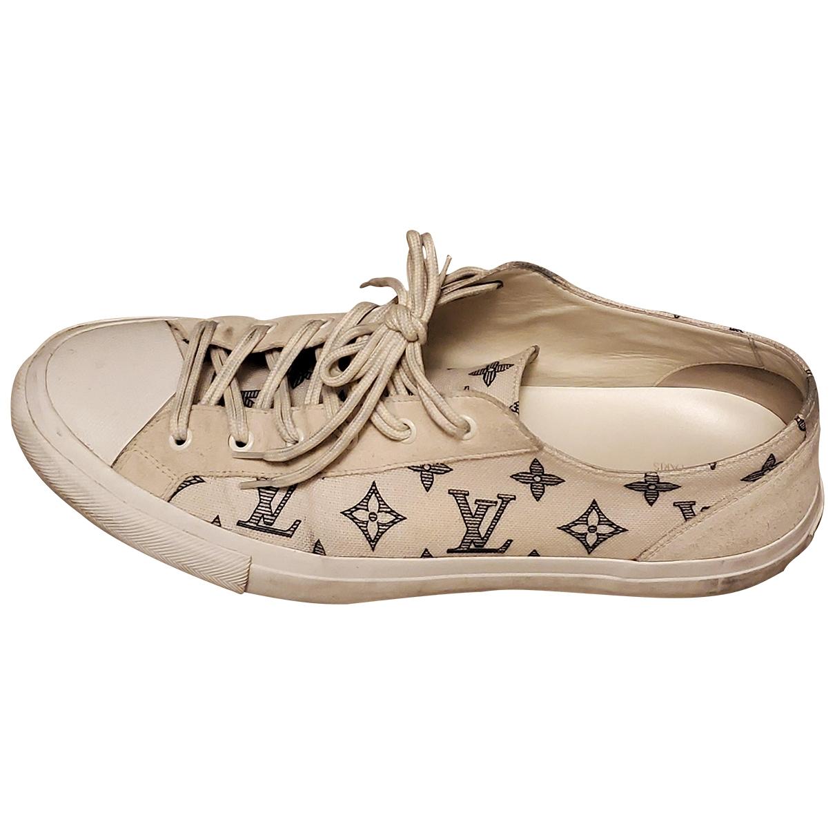 Louis Vuitton - Baskets   pour homme en toile - ecru