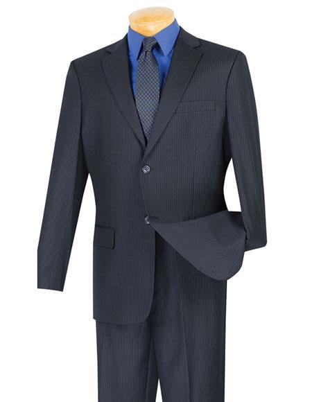 Mens Mini Stripe ~ Pinstripe Navy 2 button Wool Blend Suit