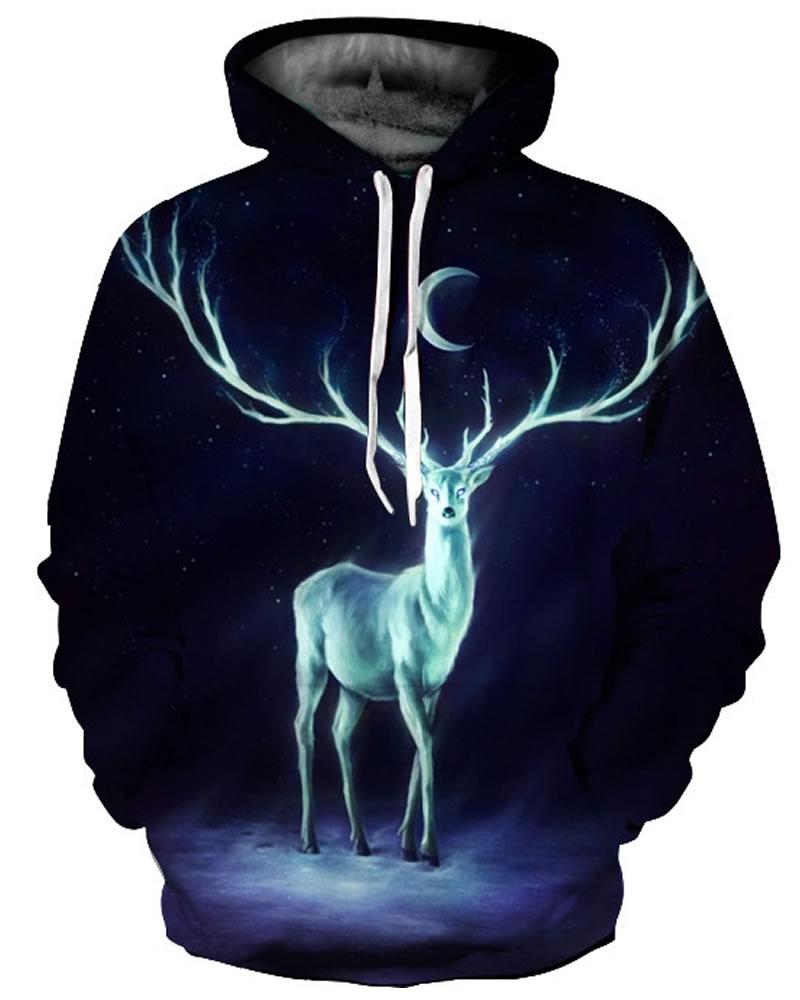 Cool Long Sleeve Deer Long Antlers Pattern 3D Painted Hoodie