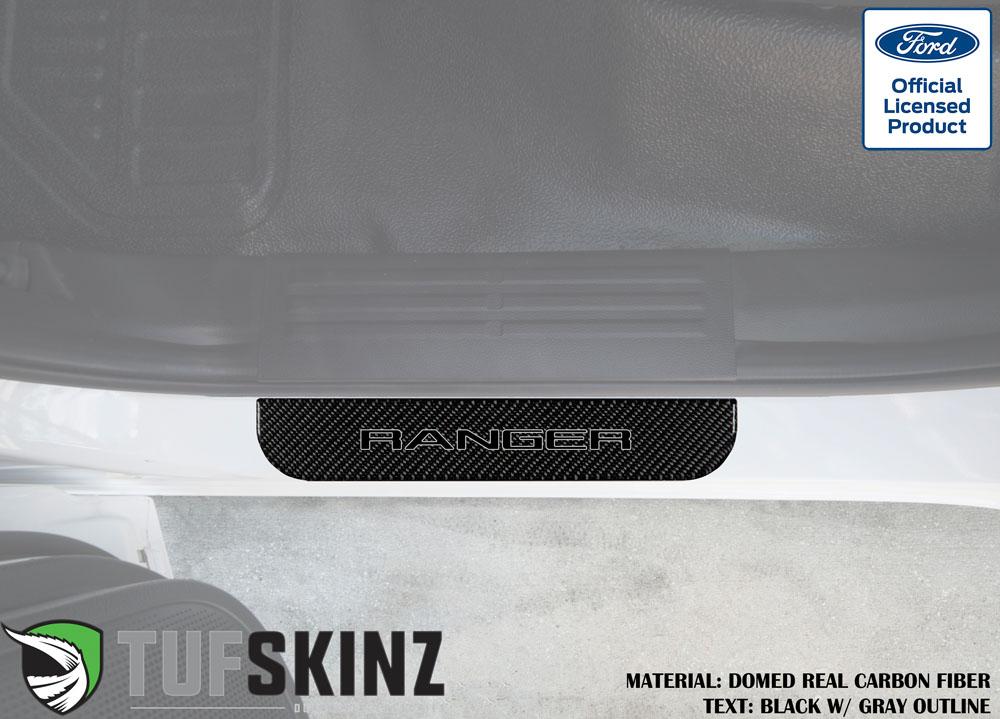 Tufskinz RAG016-DCF-068-G Door Sill Protection Fits 2019-2021 Ford Ranger Real Carbon Fiber Domed Rear Doors Logo Black w/Gray Outline