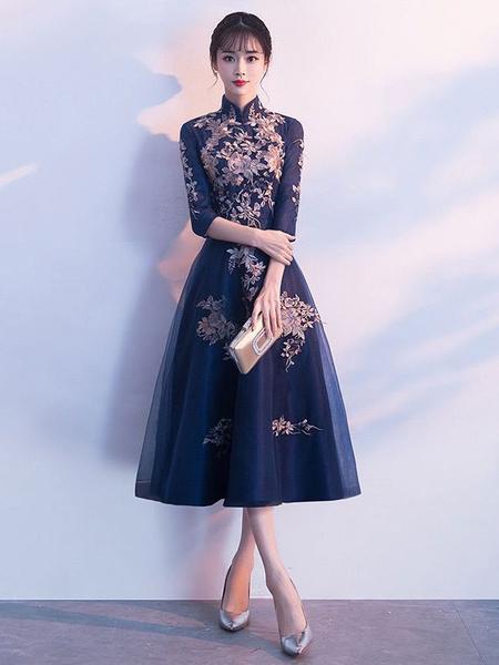 Milanoo Cocktail Dresses Dark Navy Lace Stand Collar Tea Length Wedding Guest Dress