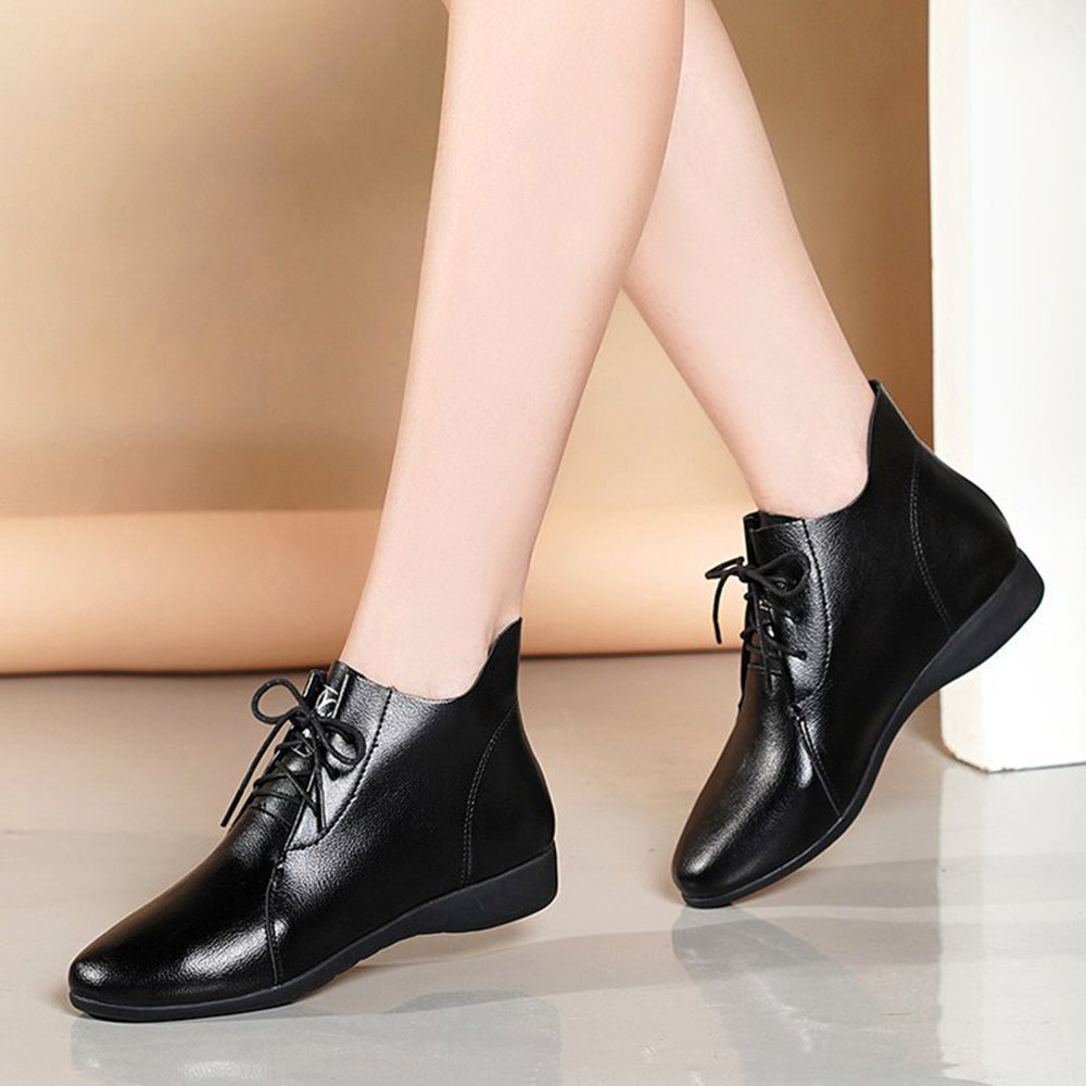 Microfibric Leather Lace Up Soft Sole Casual Flat Black Boots
