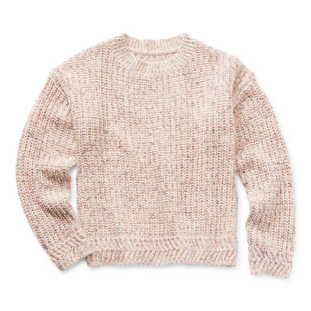 Arizona Little & Big Girls Round Neck Long Sleeve Pullover Sweater, Small (7-8) , White