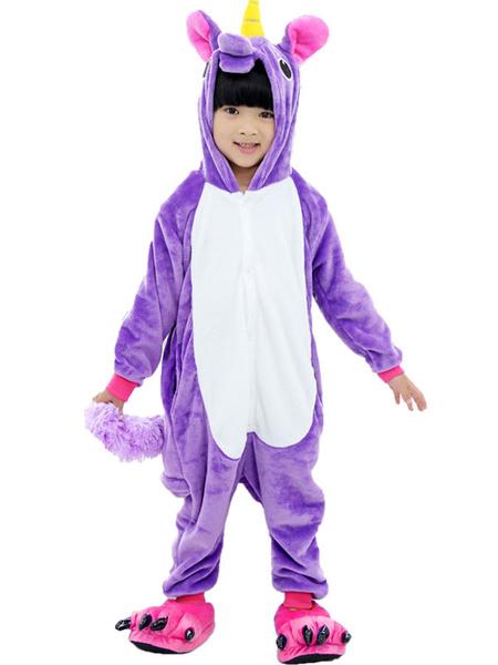Milanoo Kigurumi Pajamas Pegasus Halloween Purple Flannel With Footwear For Kids Winter Sleepwear Mascot Animal Costume Halloween