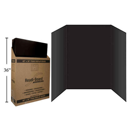 36 x 48 Premium Foam Tri-Fold Display Board for School Projects or Business Presentations, Black