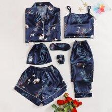 Conjunto de pijama de saten con estampado tropical con grulla 7 piezas