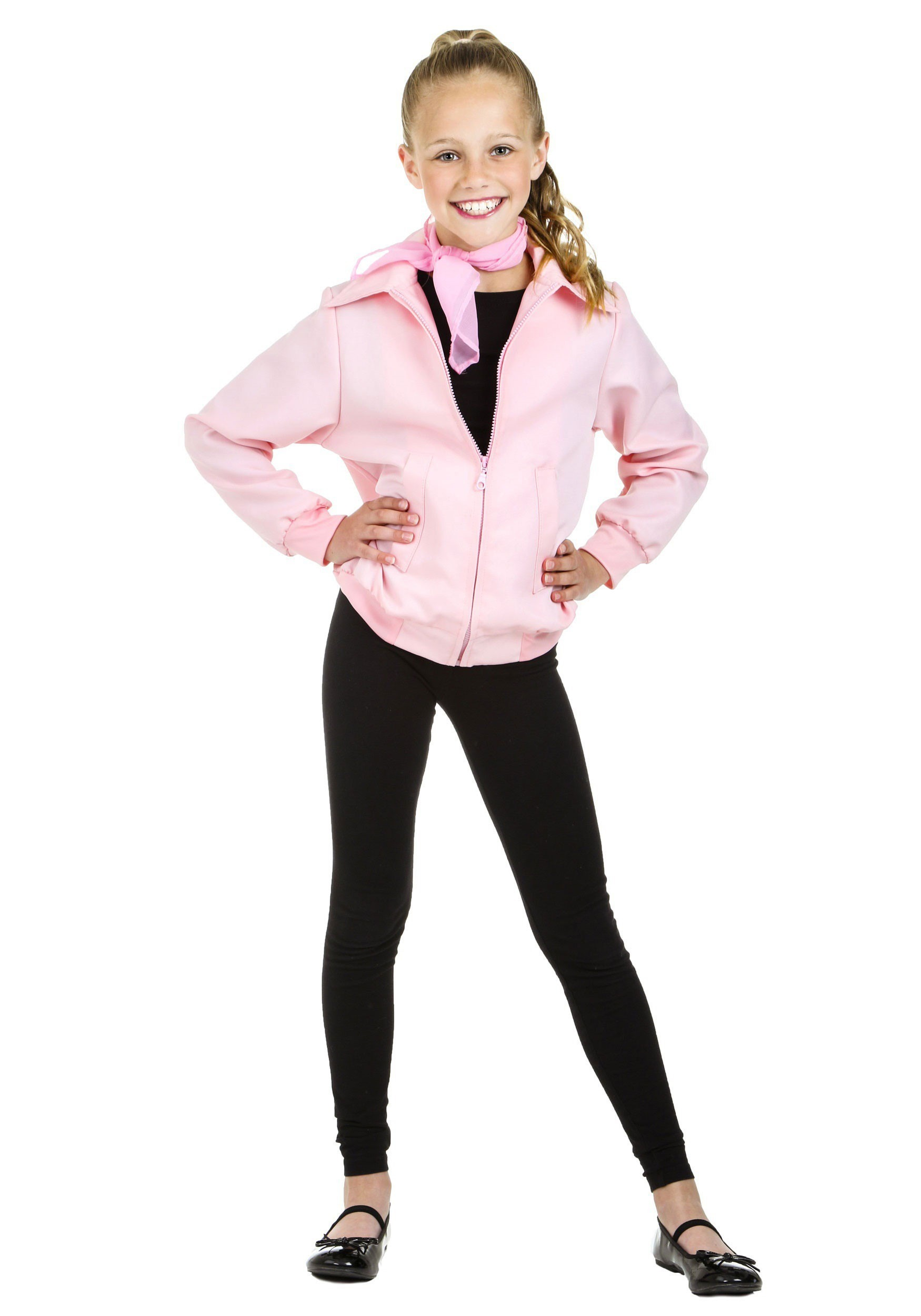 Deluxe Pink Ladies Jacket Costume for Girls