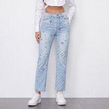 High Waist Floral Print Texture Straight Jeans