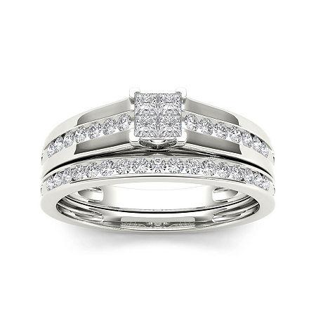1/2 CT. T.W. Diamond 10K White Gold Bridal Set Ring, 7 , No Color Family