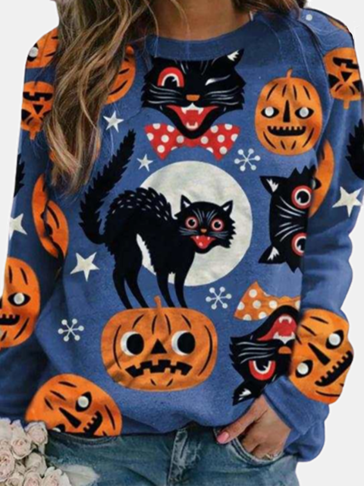 Halloween Cartoon Cat Print Long Sleeve Casual Sweatshirt For Women