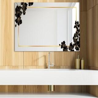 Designart 'Gold Botanical Obsidian 10' Glam Mirror - Modern Vanity Mirror (39.4 in. wide x 29.5 in. high)