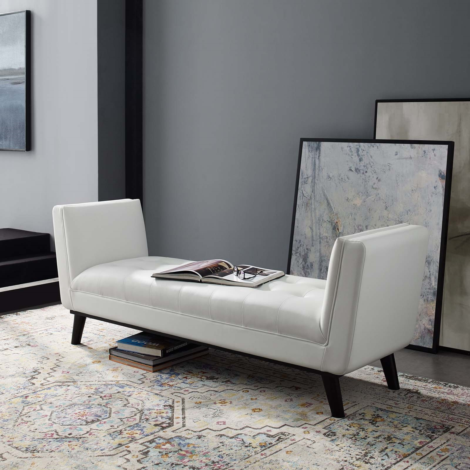 Haven Tufted Button Faux Leather Accent Bench in White
