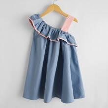 Toddler Girls Asymmetrical Ruffle Trim Dress