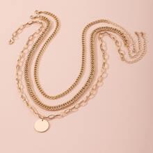 3 Stuecke Halskette mit rundem Dekor