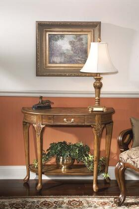 Kimball Collection 0653001 Console Table with Traditional Style  Demilune Shape and Solid Wood in Vintage Oak