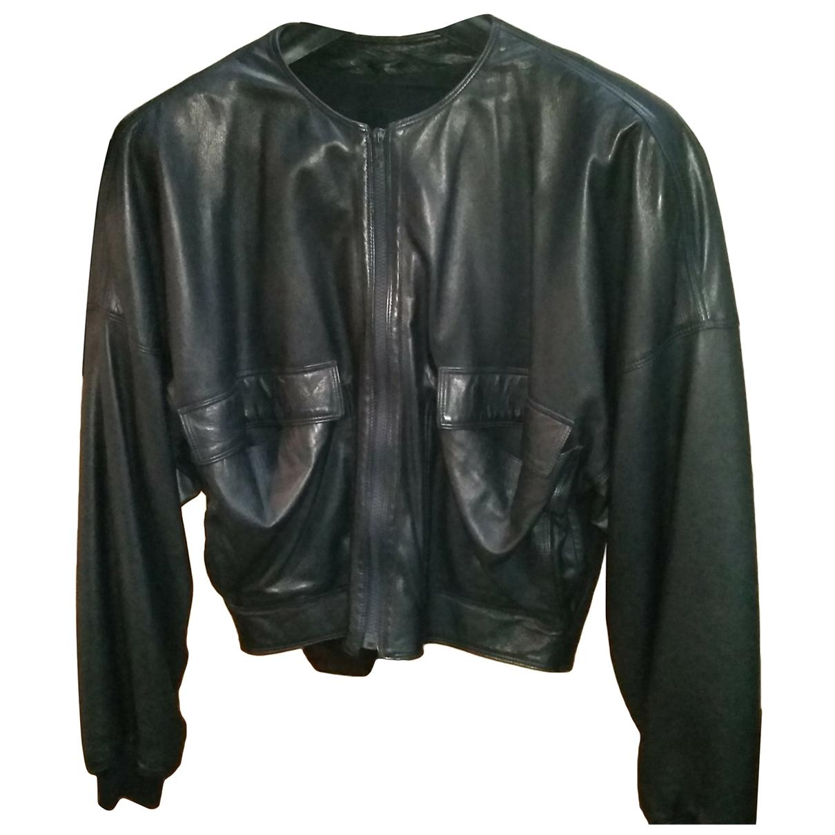 Gianni Versace - Blouson   pour femme en cuir - marine