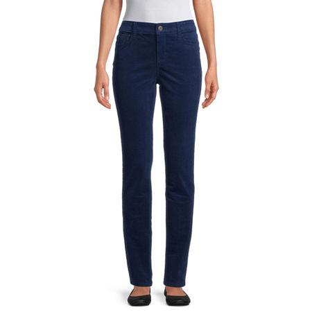 St. John's Bay Womens Mid Rise Straight Corduroy Pant, 2 Petite , Blue