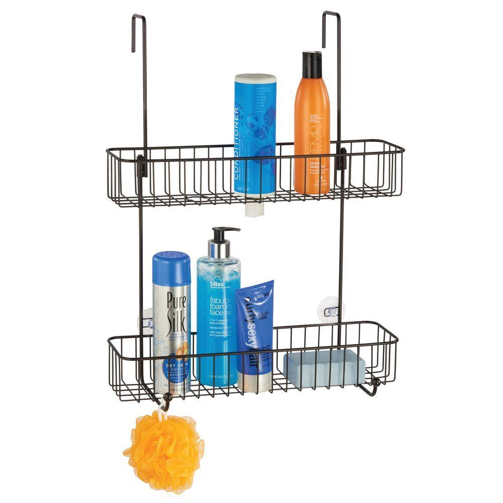 mDesign Over Door Bathroom Hanging Storage Shower Caddy in Satin, 6.5