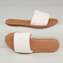 Faux Leather Basketweave Slip-On Sandals