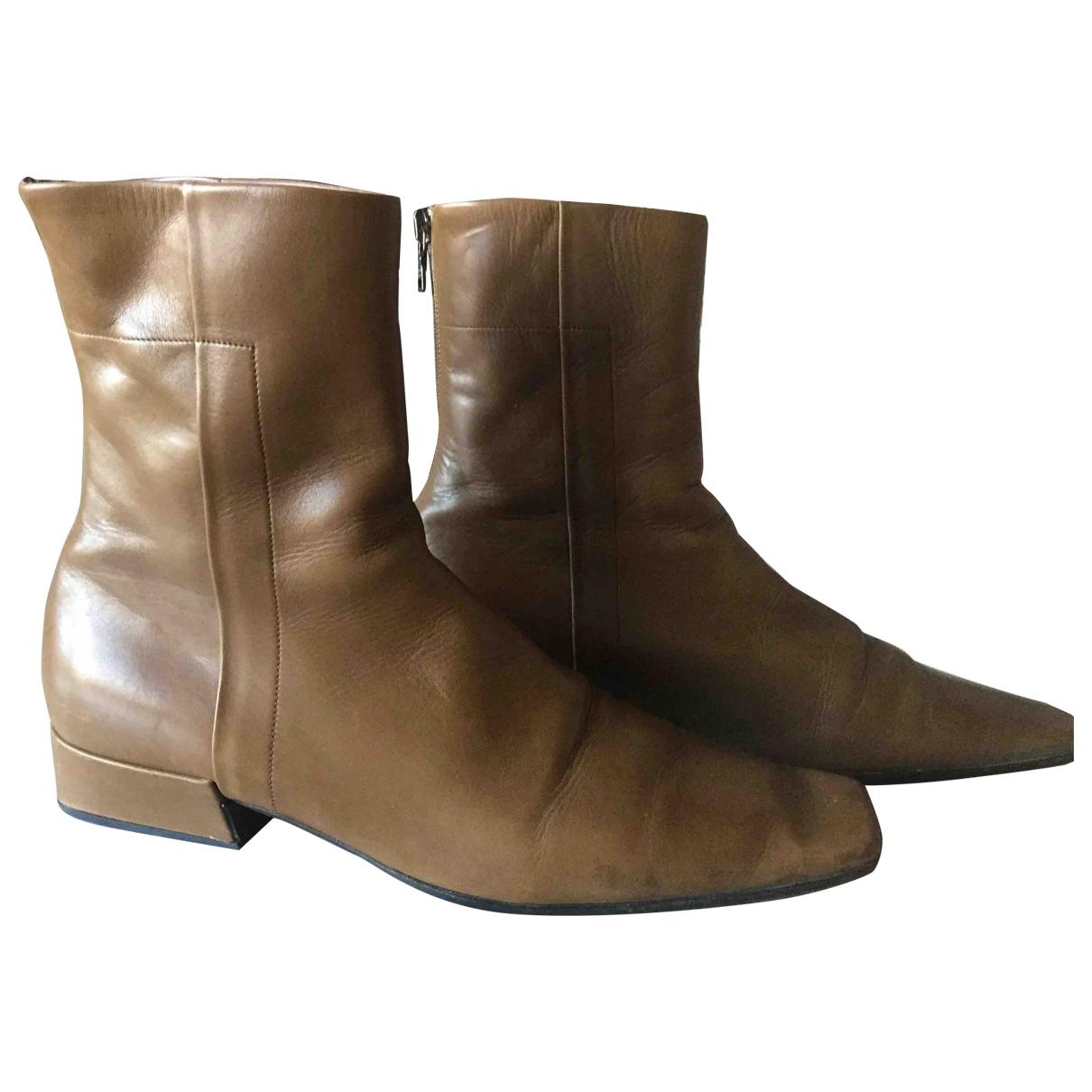 Prada - Boots   pour femme en cuir - vert