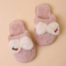 Girls Bow Decor Fluffy Slippers
