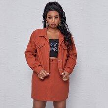 Plus Single Breasted Drop Shoulder Denim Jacket With Denim Skirt