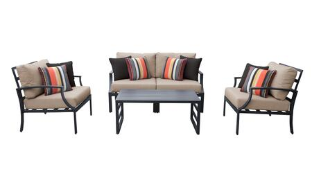 Lexington LEXINGTON-05c-WHEAT 5-Piece Aluminum Patio Set 05c with 1 Left Arm Chair  1 Right Arm Chair  2 Club Chairs and 1 Coffee Table - Ash and