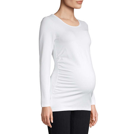Belle & Sky Maternity Long Sleeve Scoop Tee, X-large , White
