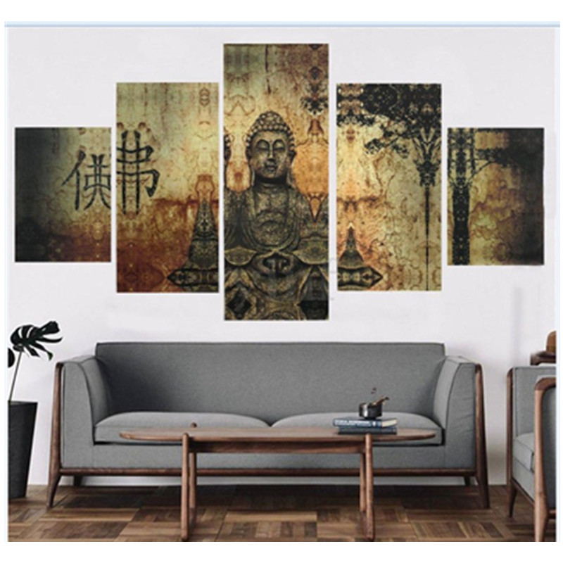 Chinese Buddha Hanging Canvas Waterproof and Eco-friendly 5-Piece Non-framed Wall Prints
