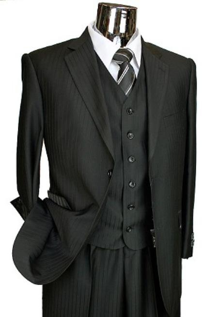 2 Button 3 Piece Black Tone on Tone Italian Designer Suit Mens