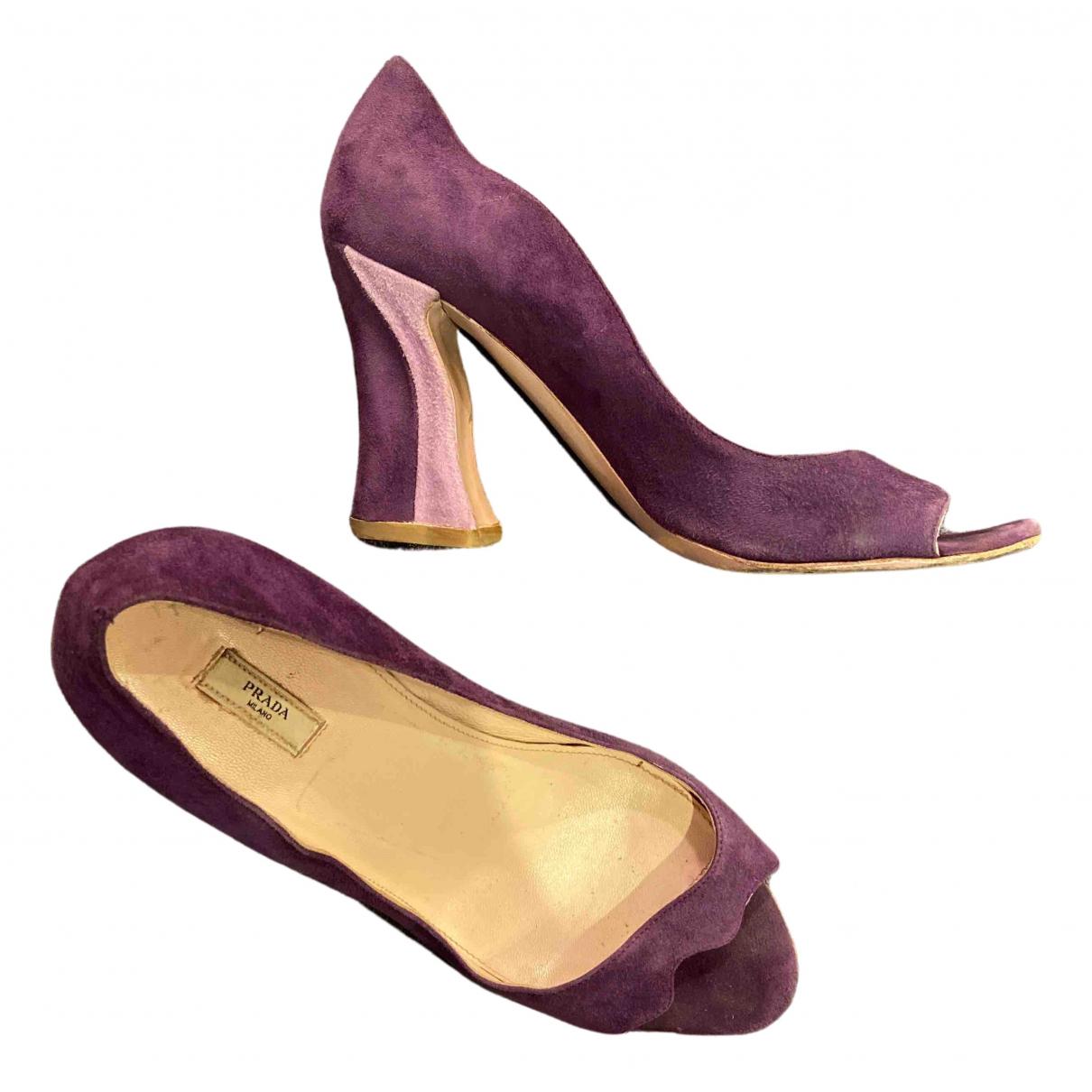 Prada \N Purple Leather Heels for Women 39 IT