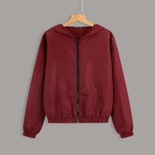 Solid Zip Up Hooded Jacket