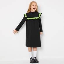 Kleid mit Stehkragen und Kontrast Rueschenbesatz