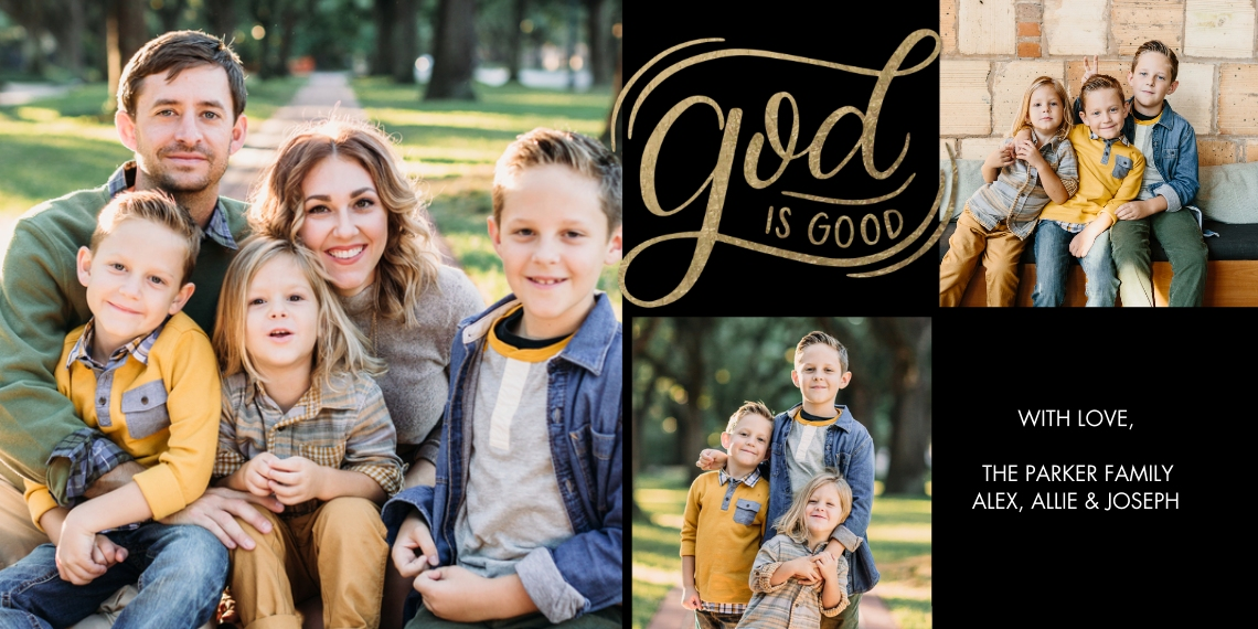 Christmas Photo Cards Flat Matte Photo Paper Cards with Envelopes, 4x8, Card & Stationery -Christmas Script God is Good by Tumbalina