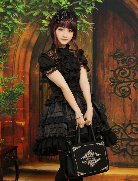 Milanoo Gothic Layered Short Sleeves Black Lolita Outfits