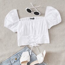 Ruched Bust Lace-up Front Puff Sleeve Crop Top