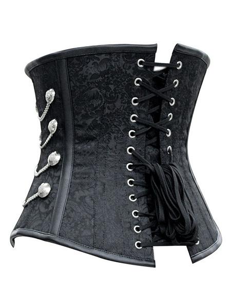 Milanoo Black Steampunk Costume Metallic Chain Jacquard Retro Corset For Women