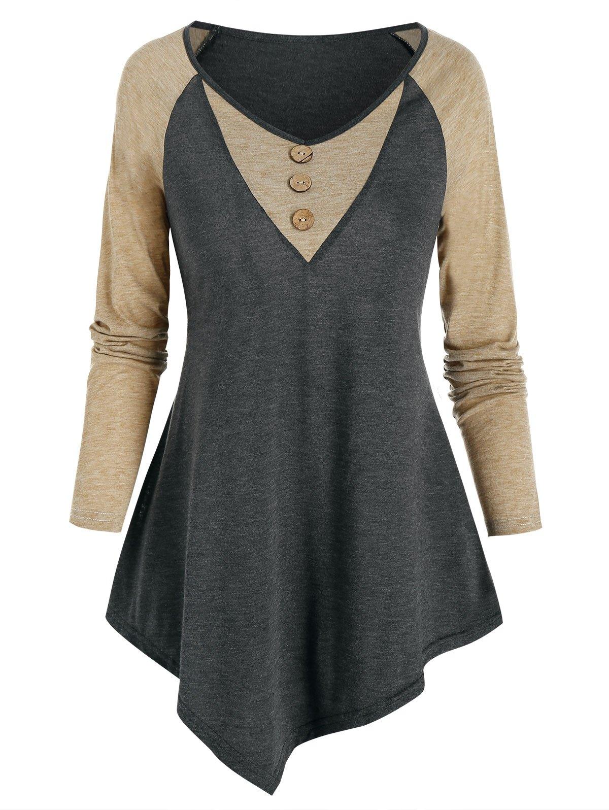 Raglan Sleeve Asymmetric Contrast T-shirt