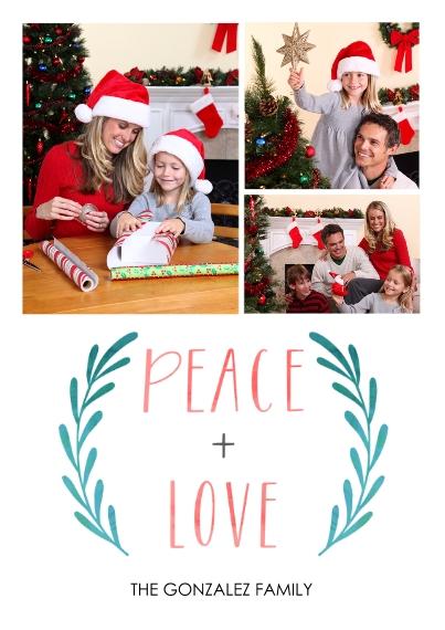 Fun & Festive 5x7 Cards, Premium Cardstock 120lb with Elegant Corners, Card & Stationery -Peace Love Laurels