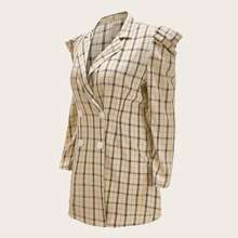 Plus Plaid Puff Sleeve Double Button Blazer Dress