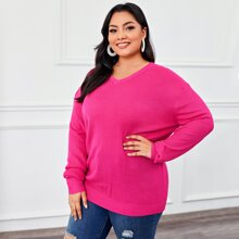 Plus Neon Pink Drop Shoulder Sweater